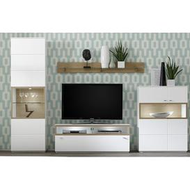 image-Mustafa Wall Mounted Curio Cabinet Mercury Row Colour: Wild oak, Door Swing: Right-hand hinge, Lighting: Without a light