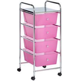 image-Cisneros 4 Drawer Storage Utility Cart Symple Stuff Colour: Pink