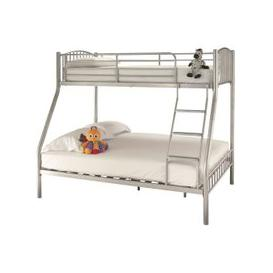 image-Oslo Silver Metal Three Sleeper Bunk Bed - Serene Furnishings