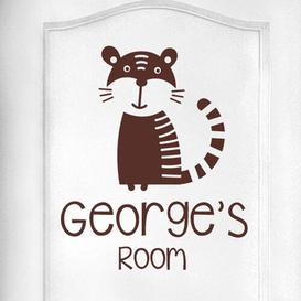 image-Personalised Tiger Kids Door Room Wall Sticker Happy Larry Colour: Brown