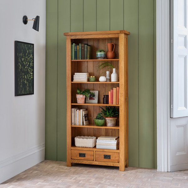image-Rustic Solid Oak Bookcases - Tall Bookcase - Original Rustic Range - Oak Furnitureland