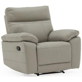 image-Vida Living Positano Light Grey Leather Recliner Chair