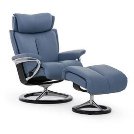 image-Stressless Magic Recliner With Signature Base Footstool Small Chair Cori Leather