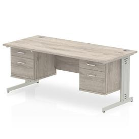 image-Zetta Executive Desk Ebern Designs Size:  73cm H x 180cm W x 80cm D, Frame Colour: Grey