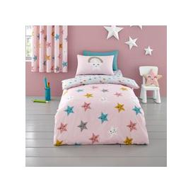 image-Cosatto Happy Stars 100% Cotton Duvet Cover and Pillowcase Set Pink, Blue and White