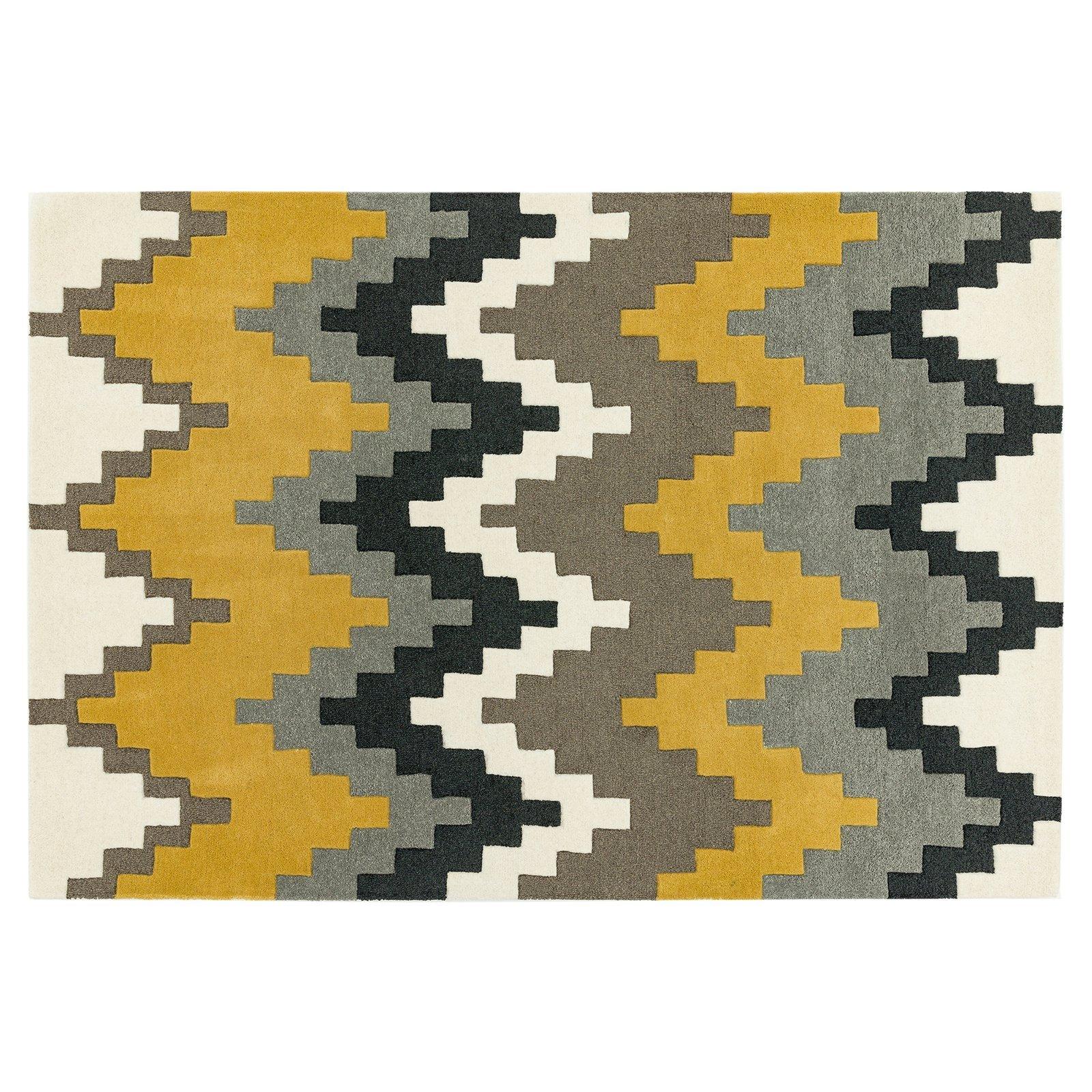 image-Guzzo Wool Rug, 120X170 cm, Mustard