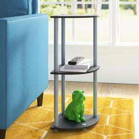 image-Corner Bookcase Wayfair Basics Colour: Black/Grey