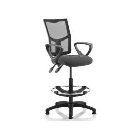 image-Lunar 2 Lever Mesh Back Draughtsman Chair (Fixed Arms), Charcoal