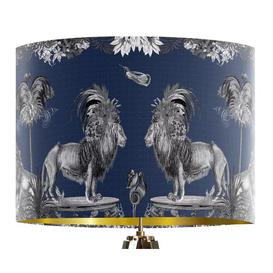 image-Classical Jungle Lion 40cm Cotton Drum Table Lamp Shade Bloomsbury Market Colour: Blue