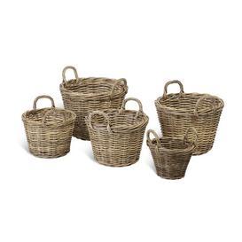 image-Kubu Log Rattan 5 Piece Basket Set Bay Isle Home
