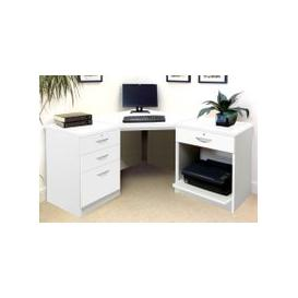 image-Small Office Corner Desk Set With 3+1 Drawers & Printer Shelf (White)