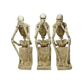 image-Skeleton Statues Mimicking Three Wise Monkeys Resin Sculpture