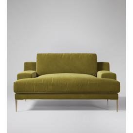 image-Swoon Almera Love Seat in Green Easy Velvet With Brass Feet