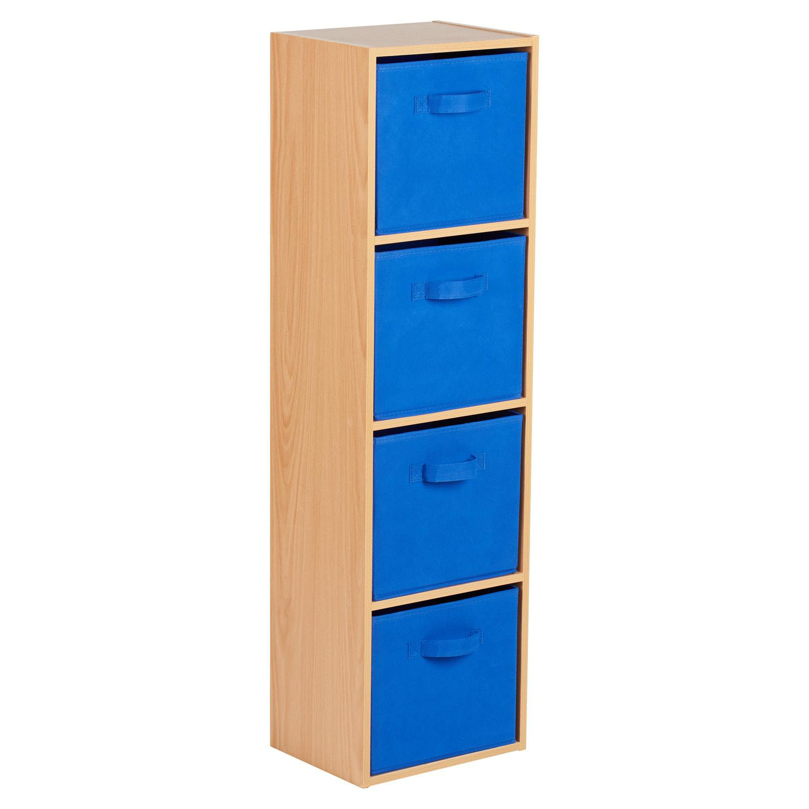 image-Hartleys Beech 4 Tier Cube Storage Unit & 4 Handled Box Drawers - Blue
