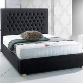 image-Upholstered Bed Frame Willa Arlo Interiors Size: Kingsize (5'), Finish: Black