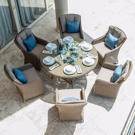 image-Larbi 6 Seater Dining Set with Cushions Sol 72 Outdoor