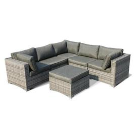 image-Anastasia 6 Seater Rattan Corner Sofa Set with Cushion Sol 72 Outdoor Colour: Grey