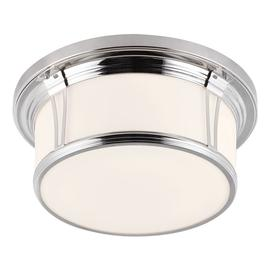 image-FE/WOODWARD/F/L Woodward 3 Light Polished Nickel Bathroom Flush Light