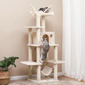 image-Ballina 146cm Scratcher Activity Centres Post with Hammock Cat Tree Archie & Oscar Colour: Beige