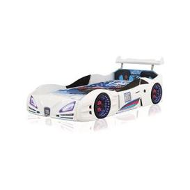 image-Buggati Veron Childrens Car Bed In White With Spoiler And LED