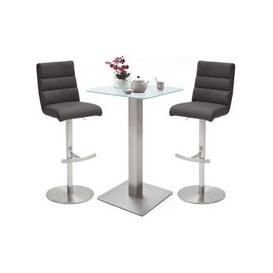 image-Soho Glass Bar Table With 2 Hiulia Anthracite Leather Stools