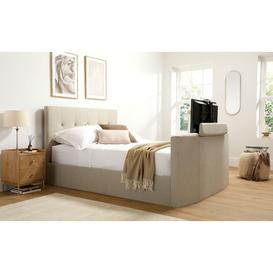 image-Langham Oatmeal Fabric Ottoman Double TV Bed