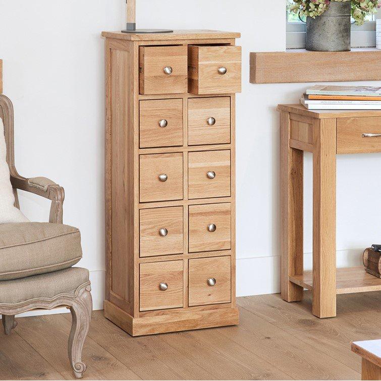 image-Mobel Oak Furniture Multi Drawer CD DVD Storage Chest