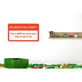 image-No Adults Allowed This Is Not an Adult Area Kids at Play Only Wall Sticker Happy Larry Size: Large, Colour: Orange