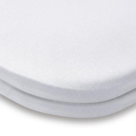 image-Pack of 2 White 100% Cotton Jersey Travel Cot Fitted Sheets White