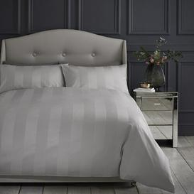 image-Hotel Luxury Sateen Stripe Duvet Cover and Pillowcase Set Silentnight Colour: Silver, Size: Double