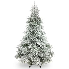image-7.4ft Green Flocked Pine Artificial Christmas Tree with Stand Zipcode Design
