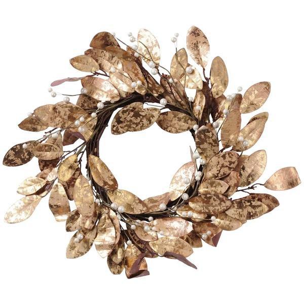 image-Libra Magnolia Leaf Gold Wreath - Xmas-18