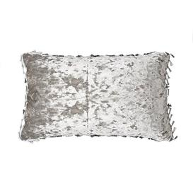 image-Contreras Bling Oblong Crushed Velvet Cushion with Filling Rosdorf Park Colour: Shark