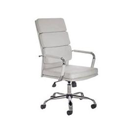image-Gleeson Bonded Leather Executive Chair In White With Wheels