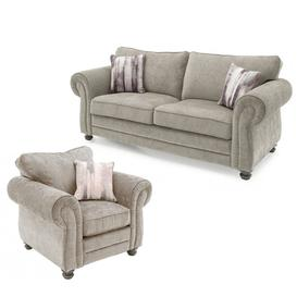 image-Vida Living Furniture Hollins Mink Fabric Fixed 3 Seater Sofa and Armchair Set