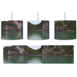 image-Mountain Landscape 1-Light Drum Pendant East Urban Home Shade Colour: Green/Grey