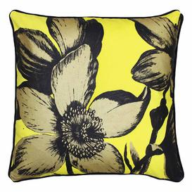image-Pop Yellow and Gold Cushion - Flower Cushion