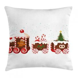 image-Subhan Christmas Gingerbread Train Outdoor Cushion Cover Ebern Designs Size: 45cm H x 45cm W