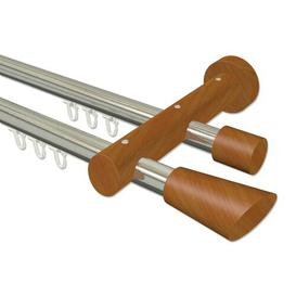 image-Manchester Curtain Pole Set Symple Stuff Size: 5cm H x 200cm W x 18cm D, Finish: Stainless Steel/Cherrywood Varnished