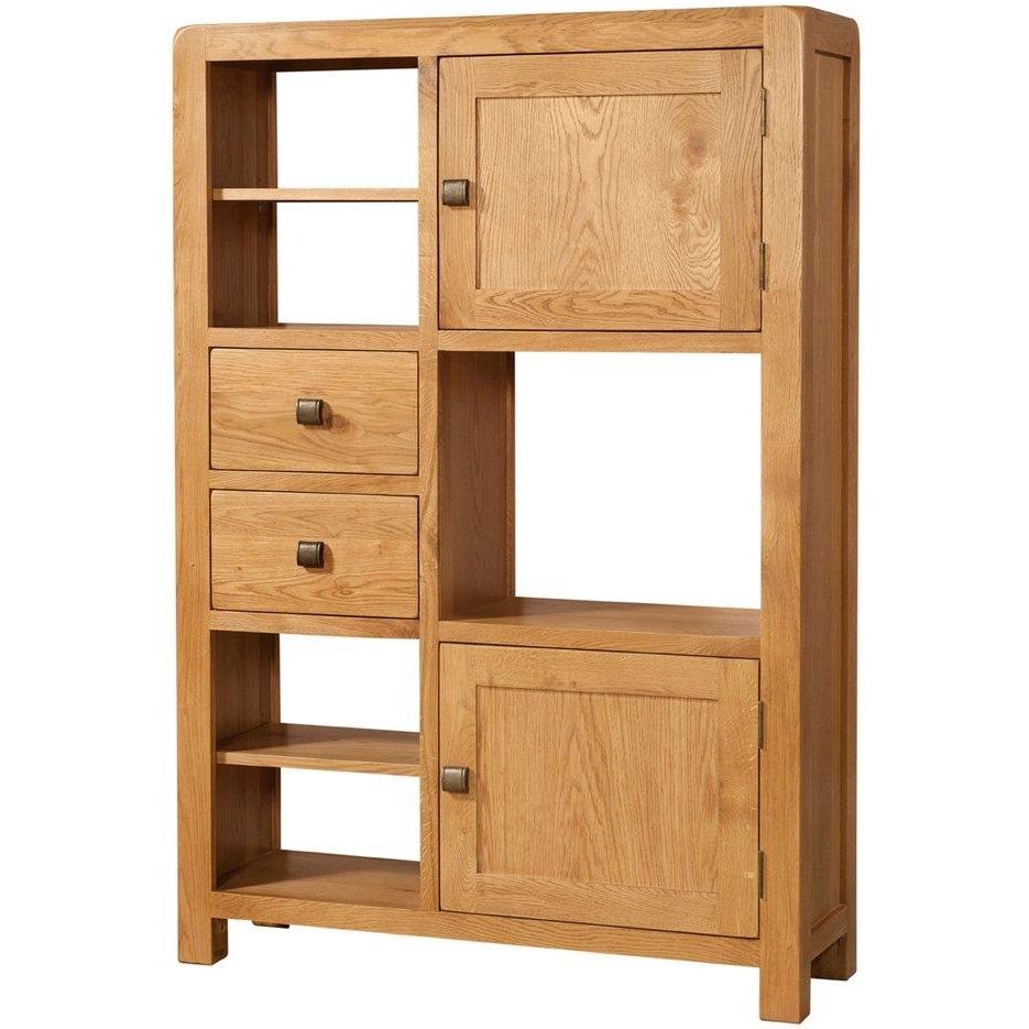 image-Avon Oak Furniture High Display Unit 2 Door 2 Drawer