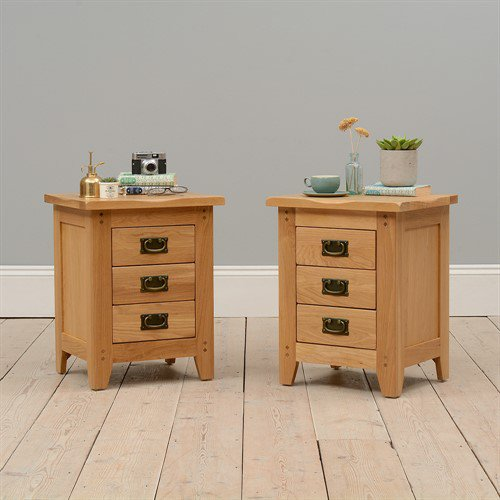 image-Oakland 3 Drawer Bedside Cabinets - Set of 2