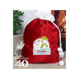 image-Personalised Snowman and the Snowdog Luxury Sack