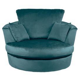 image-Blake Velvet Swivel Chair Teal (Blue)