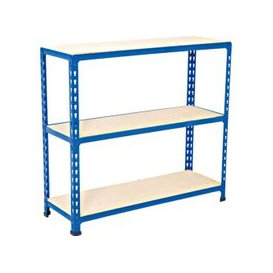 image-Rapid 2 Shelving With 3 Chipboard Shelves 915wx990h (Blue), Blue, Free Next Day Delivery