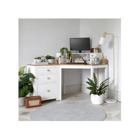 image-Chalford Warm White Corner Desk with Topper and Filing Cabinet
