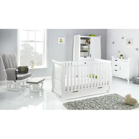 image-Stamford Cot Bed 4-Piece Nursery Furniture Set Obaby Colour: White