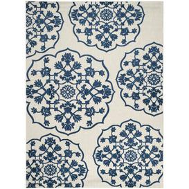 image-Clairence Hand Tufted Cream/Blue Indoor/Outdoor Rug Fleur De Lis Living Rug Size: Rectangle 200 x 289cm