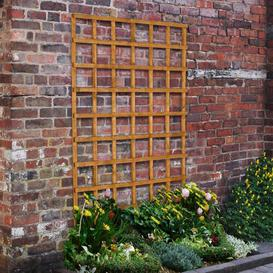 image-Stephany Wood Lattice Panel Trellis (Set of 3) Sol 72 Outdoor Size: 183cm H x 122cm W, Colour: Golden brown