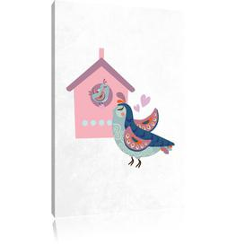 image-Bird and Chick with Bird House Art Print on Canvas East Urban Home Size: 100 cm H x 70 cm W