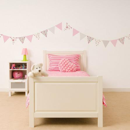image-Katy Ditsy Bunting Wall Stickers White / Pink